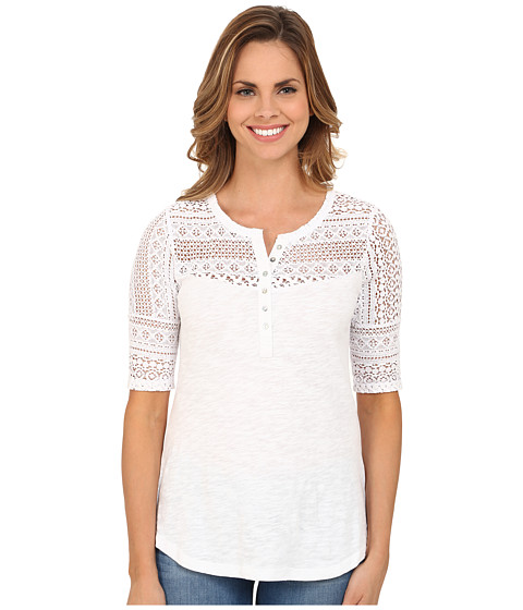 Dylan by True Grit - Navajo Lace and Soft Slub Baja Blouse (Navajo White) Women's Blouse