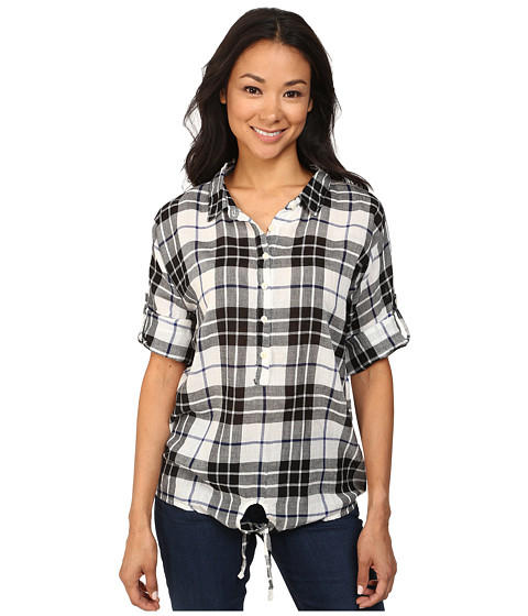 Dylan by True Grit - Outpost Plaid Gauzy Cotton Blouse (Navajo White) Women
