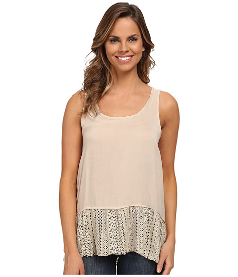 Dylan by True Grit - Flirty Tank Top with Lace Hem (Vintage Khaki) Women