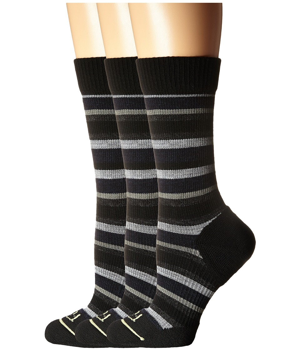 Fits - Casual Crew 3-Pair Pack (Med Stripe Black/Pewter) Women's Crew Cut Socks Shoes