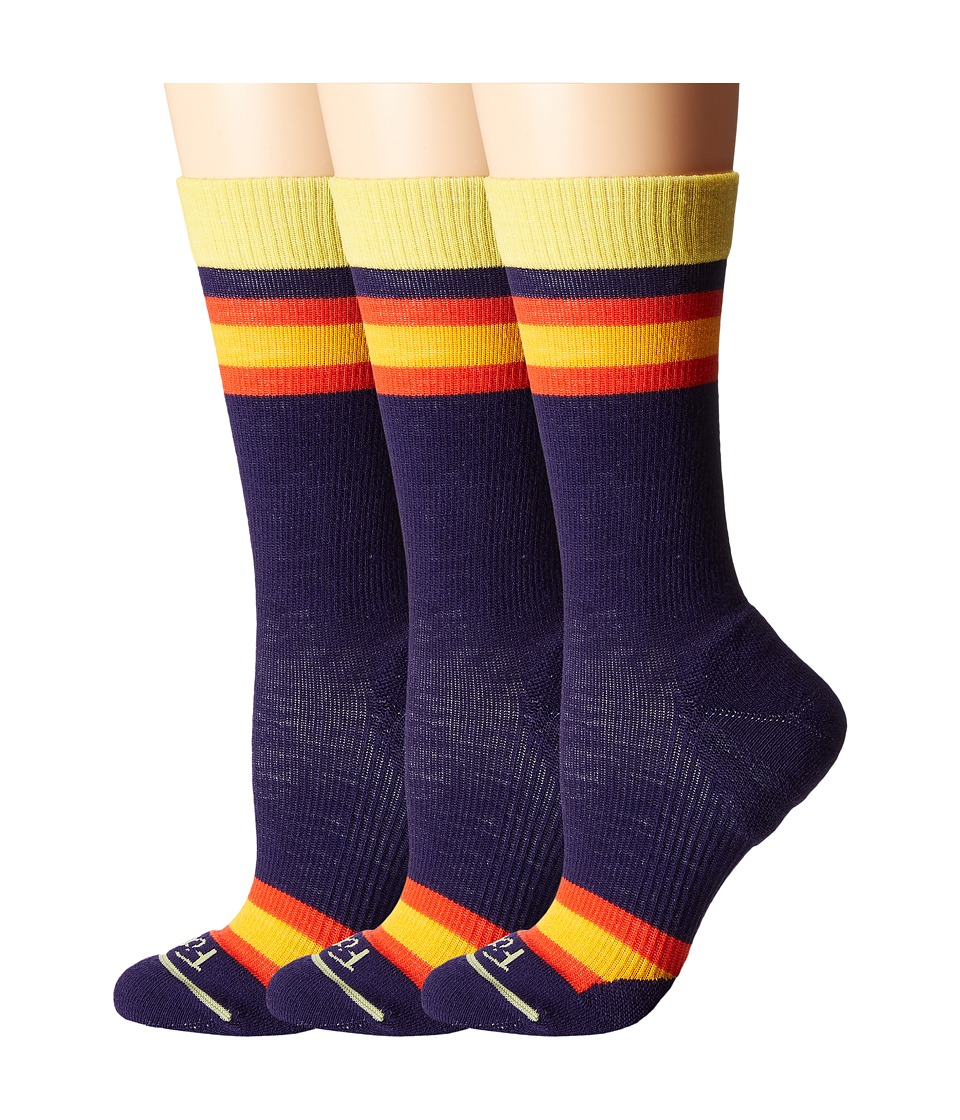 Fits - Casual Crew 3-Pair Pack (Eggplant Rugby) Women's Crew Cut Socks Shoes