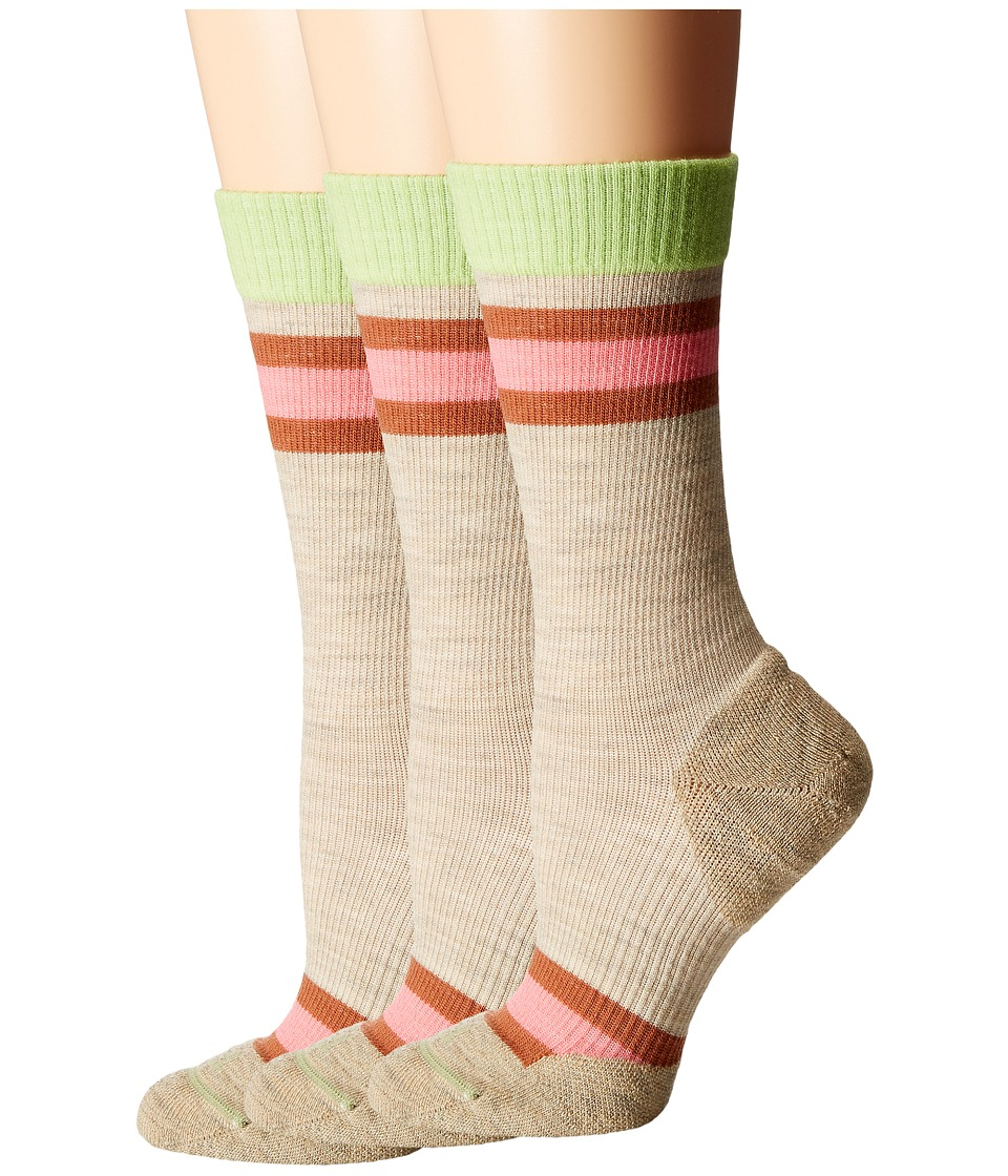 Fits - Casual Crew 3-Pair Pack (Oatmeal Rugby) Women's Crew Cut Socks Shoes