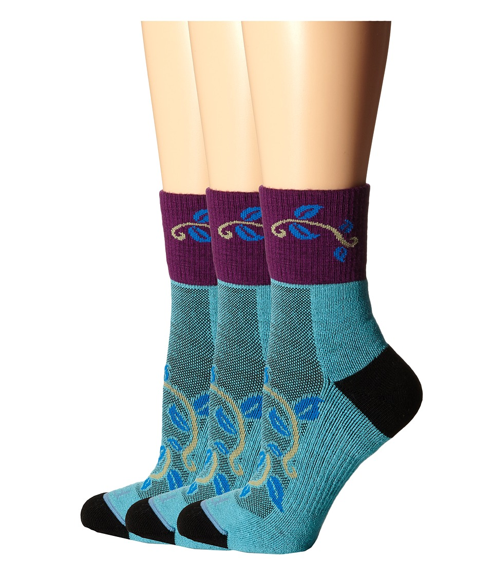 Fits - Pro Trail Performance Quarter 3-Pack (Capri Blue) Women's Quarter Length Socks Shoes