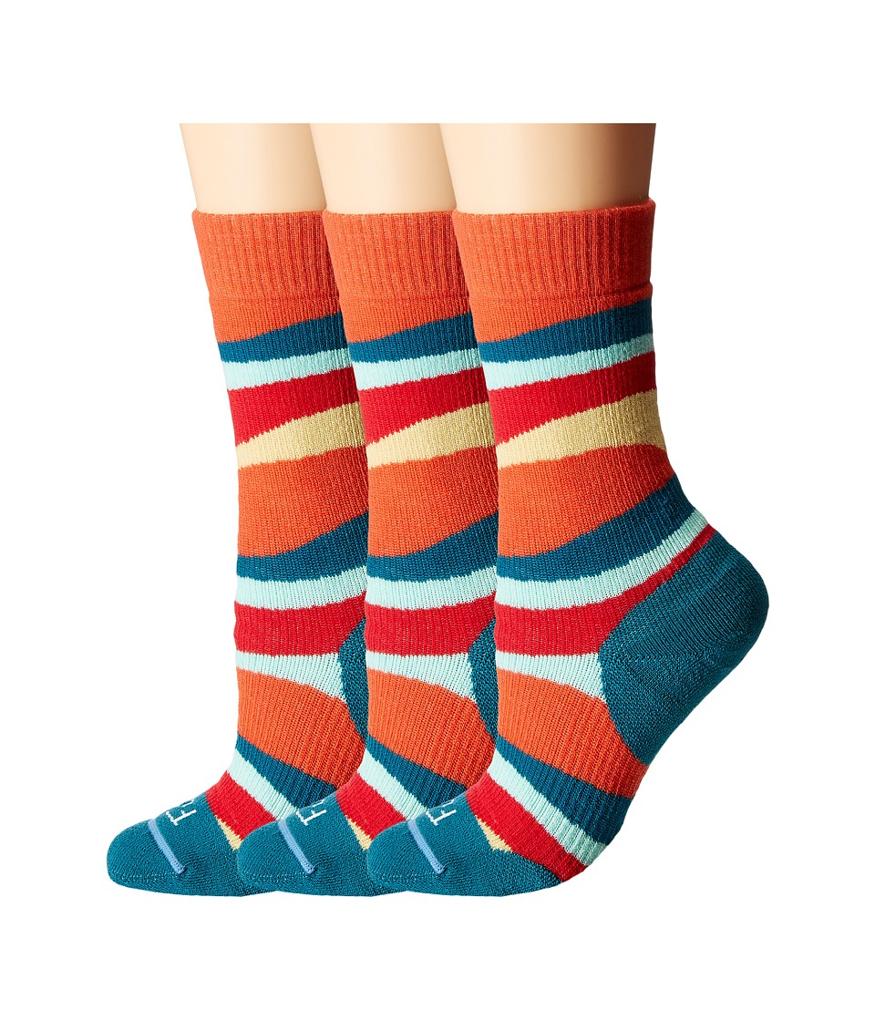 Fits - Medium Hiker Crew 3-Pack (Fiesta) Women's Crew Cut Socks Shoes
