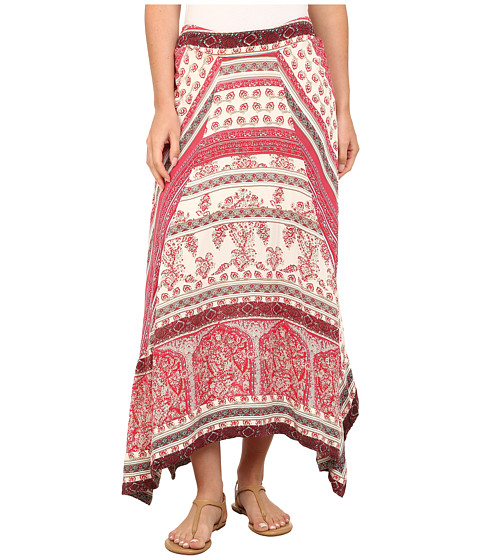 Dylan by True Grit - Vista Canyon Mixed Chambray Print Gypsy Skirt (Red Bleached) Women
