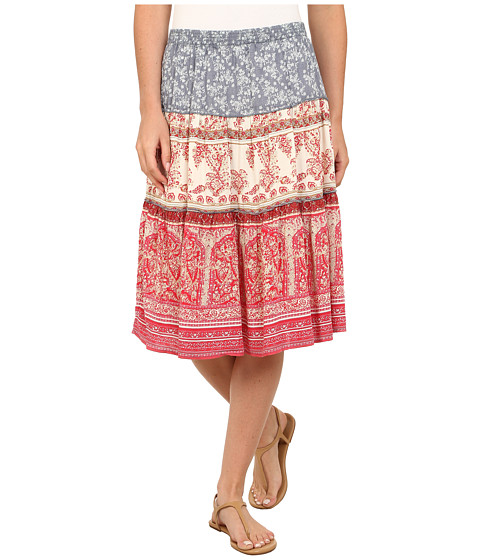 Dylan by True Grit - Vista Canyon Mixed Chambray Print Field Skirt (Red Bleached) Women