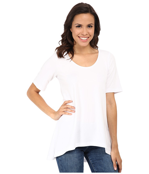 Nally & Millie - Half Sleeve High-Low Tunic (White) Women