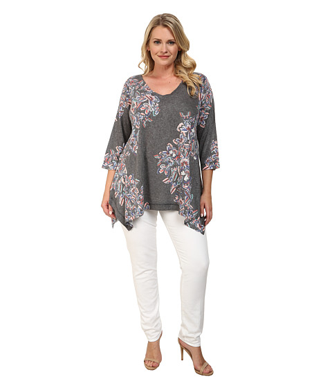 Nally & Millie - Plus Size Butterfly Tunic (Black Multi) Women's Blouse