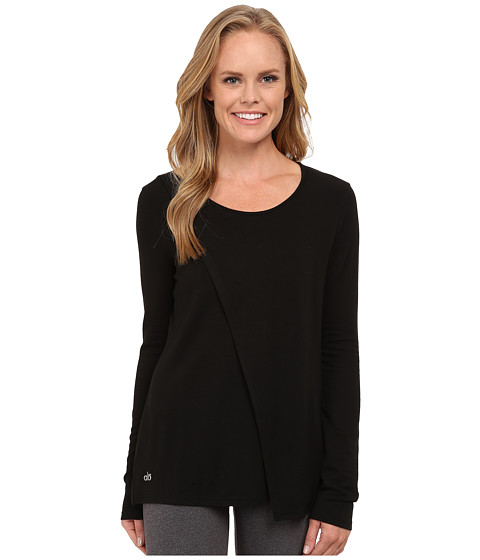 ALO - Kira Long Sleeve Top (Black) Women's Long Sleeve Pullover
