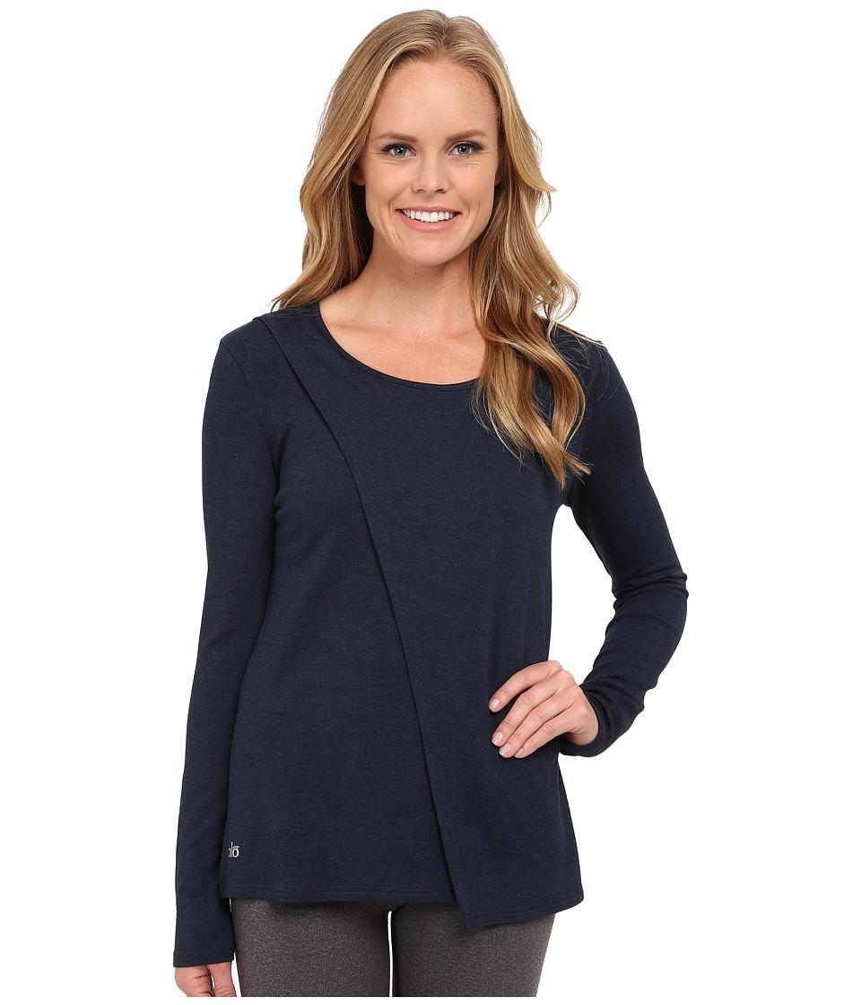 ALO - Kira Long Sleeve Top (Rich Navy Heather) Women's Long Sleeve Pullover
