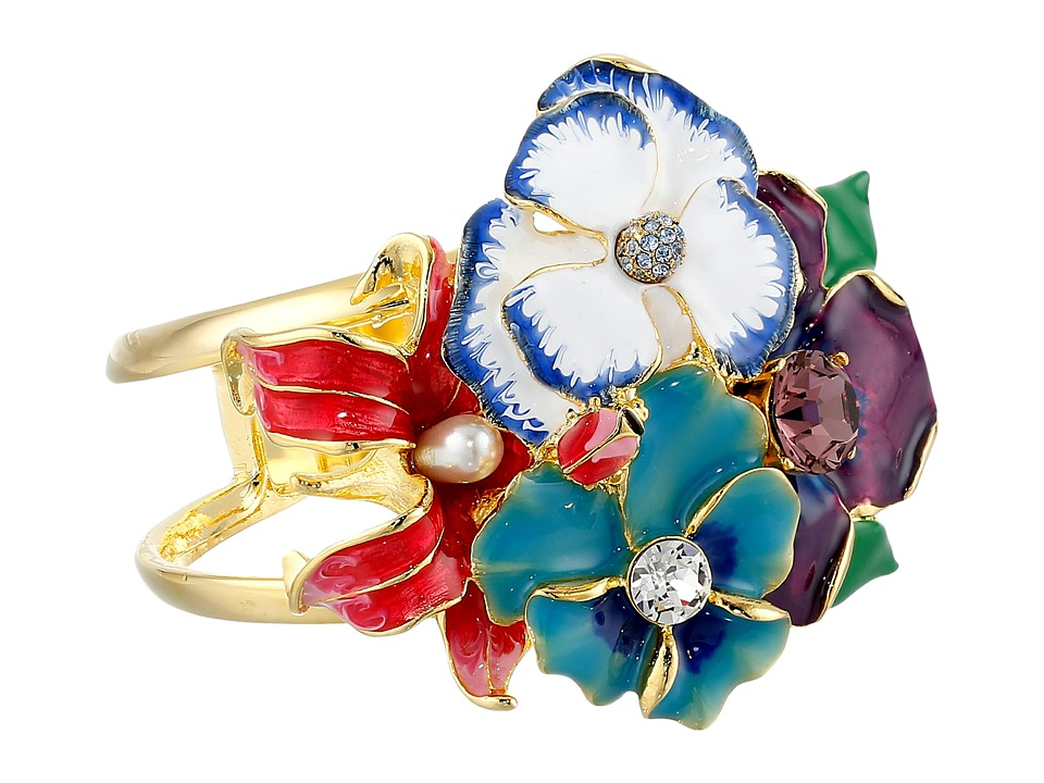 Kenneth Jay Lane - Multi Flower Bug Cuff (Gold/Garden Multi) Bracelet