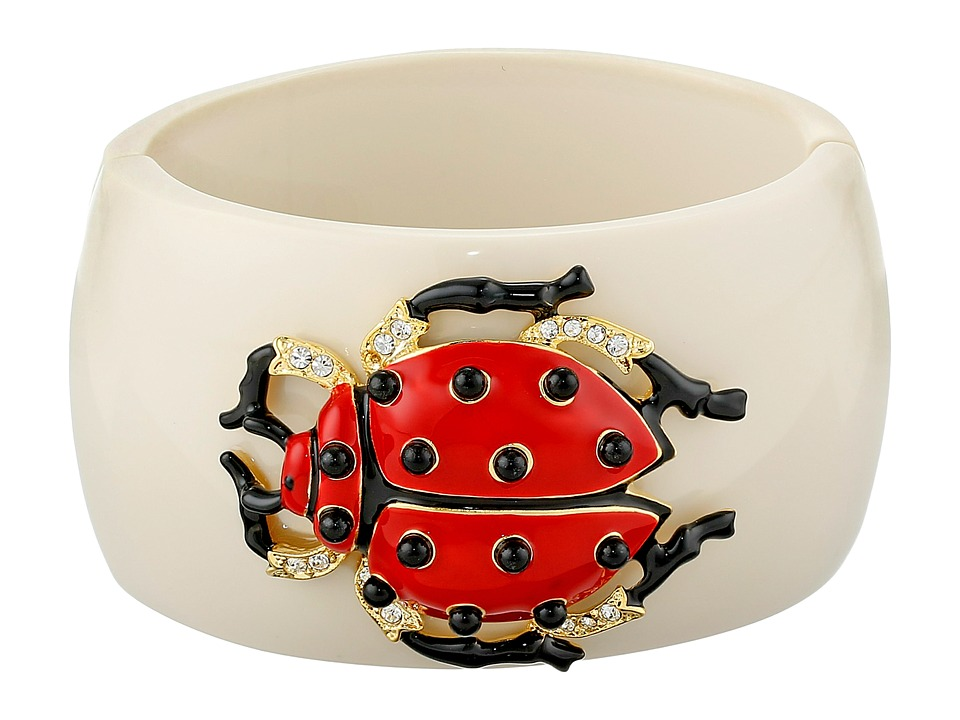 Kenneth Jay Lane - Resin Ladybug Cuff (Ivory/Red/Black) Bracelet