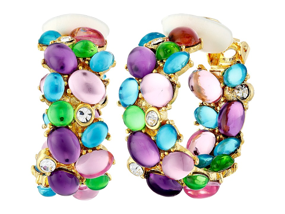 Kenneth Jay Lane - Hoop Clip Earrings (Multi Pastel) Earring