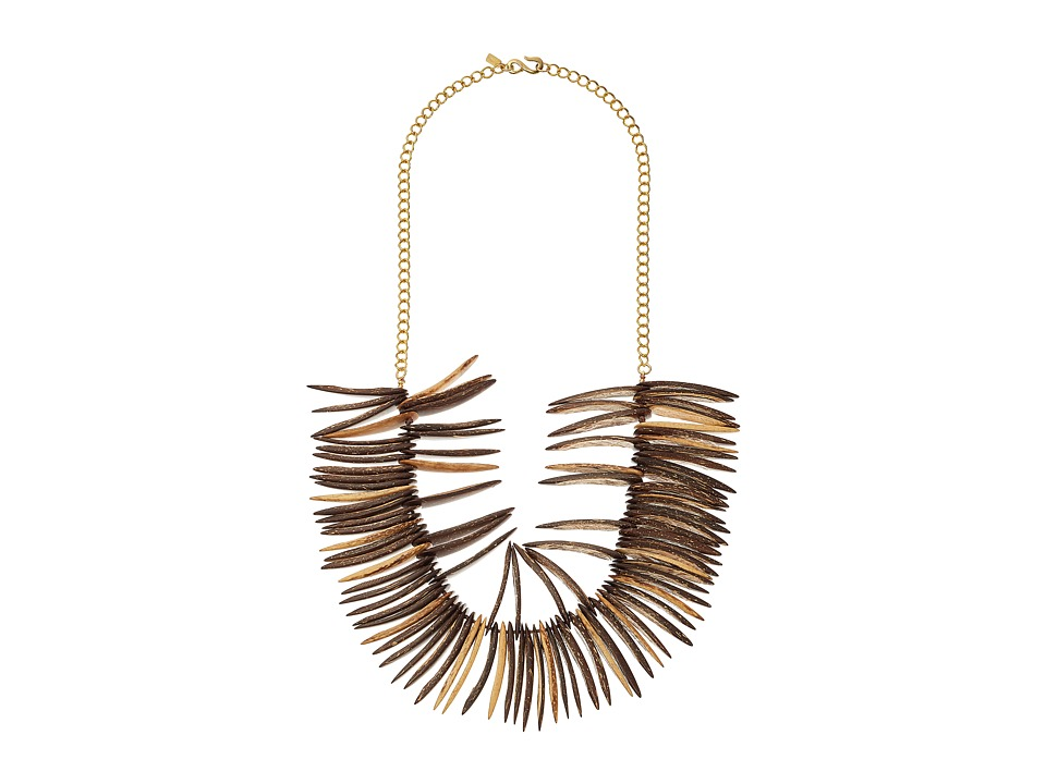 Kenneth Jay Lane - Spikes and Gold Chain Necklace (Cocoa Wood) Necklace