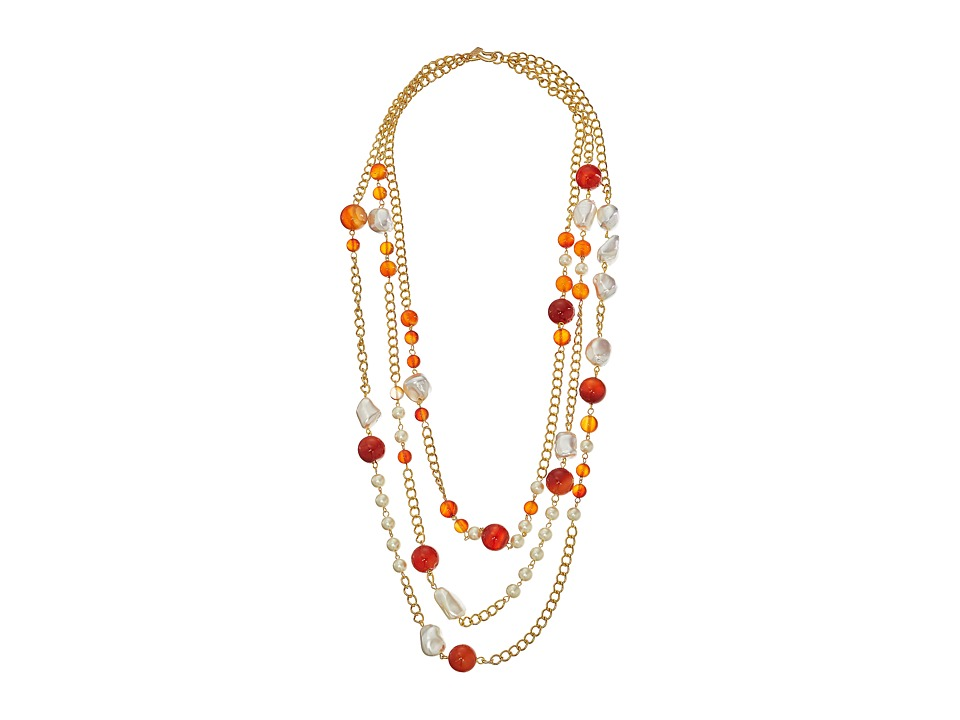 Kenneth Jay Lane - 36 Three Row Link Multi Beads Necklace (Multi Amber/Pearl/Gold) Necklace
