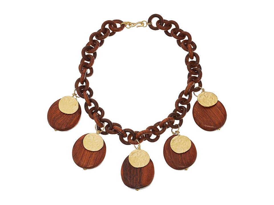 Kenneth Jay Lane - Link Coin Drops Necklace (Wood/Satin Gold) Necklace