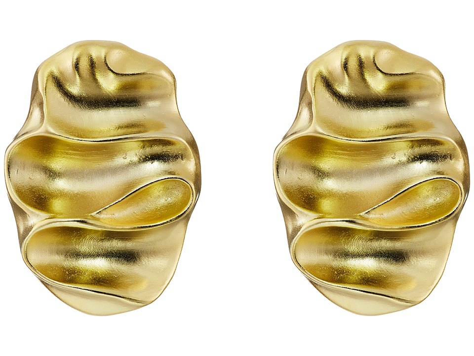 Kenneth Jay Lane - Wavy Oval Pierced Earrings (Satin Gold) Earring