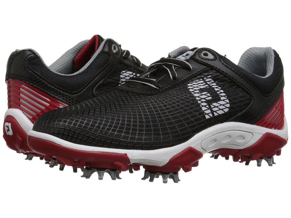 FootJoy - Golf (Little Kid/Big Kid) (Black/Red) Men's Golf Shoes