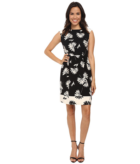 London Times - Cap Sleeve Printed A-Line Dress (Black Ivory) Women