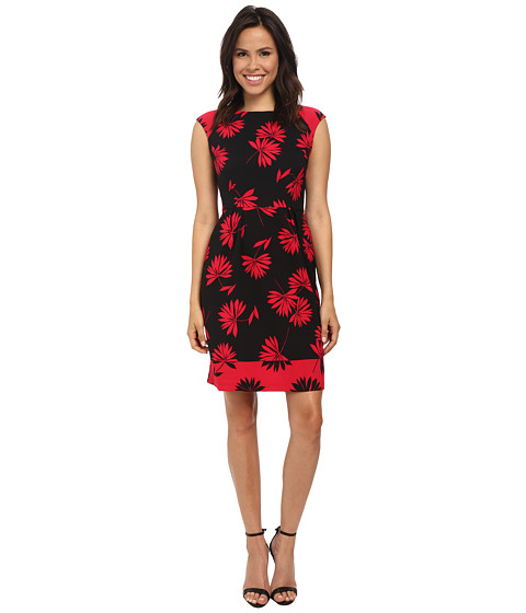 London Times - Cap Sleeve Printed A-Line Dress (Black Berry) Women