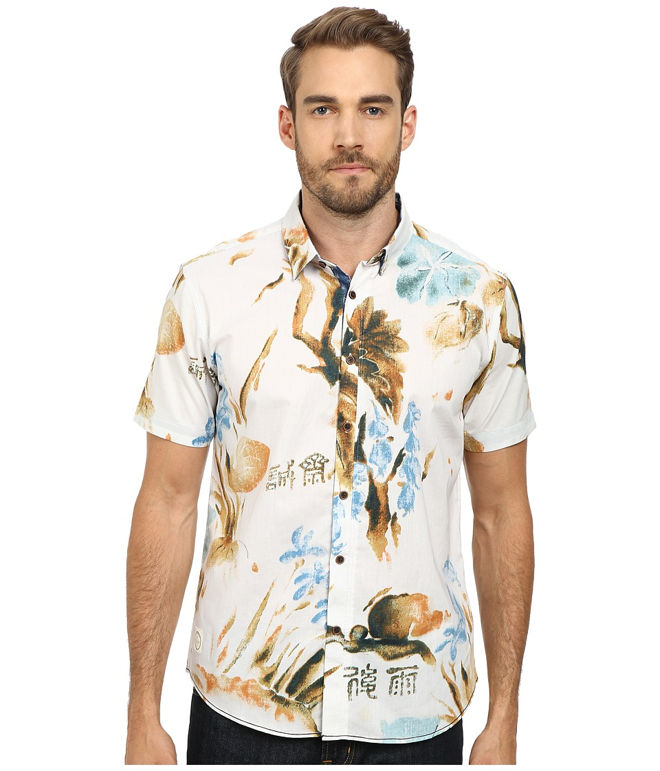 7 Diamonds - Paradise Top (Brown) Men's Short Sleeve Button Up