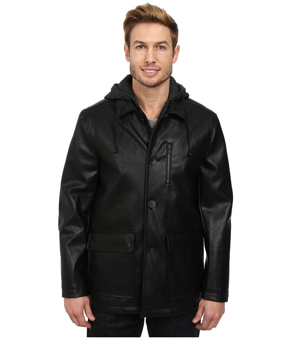 Kenneth Cole New York - Faux Leather Moto w/ Hood (Black) Men's Coat
