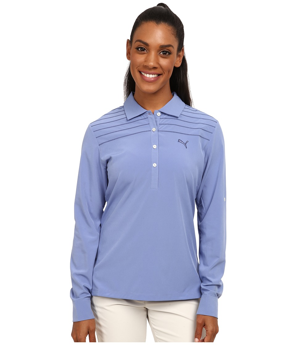 PUMA Golf - Sport Woven Long Sleeve Polo (Bleached Denim) Women's Short Sleeve Knit