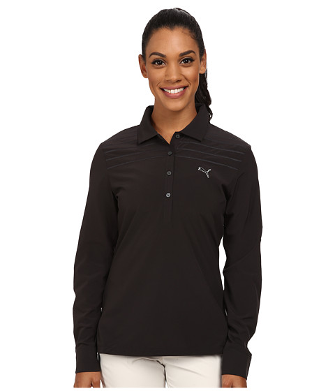 PUMA Golf - Sport Woven Long Sleeve Polo (Black) Women's Short Sleeve Knit