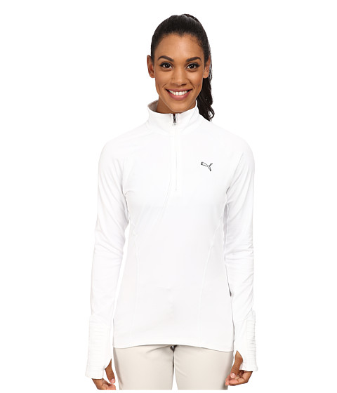 PUMA Golf - Solid Quarter Zip Popover Polo (White) Women
