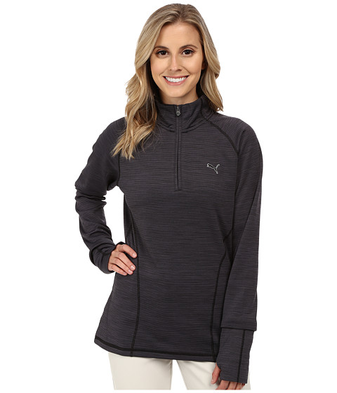 PUMA Golf - Heather Quarter Zip Popover (Black) Women