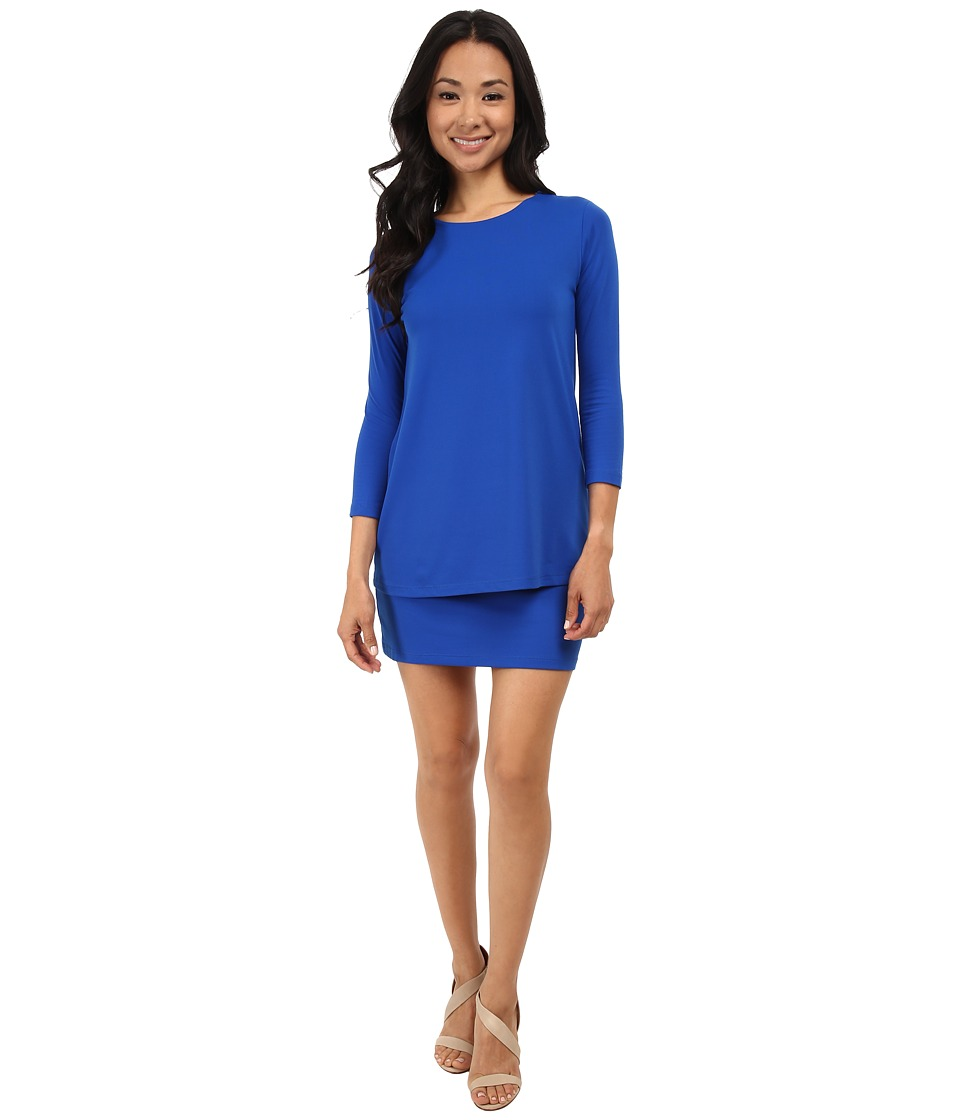 Susana Monaco - Double Layer Crew Dress (Sapphire) Women's Dress