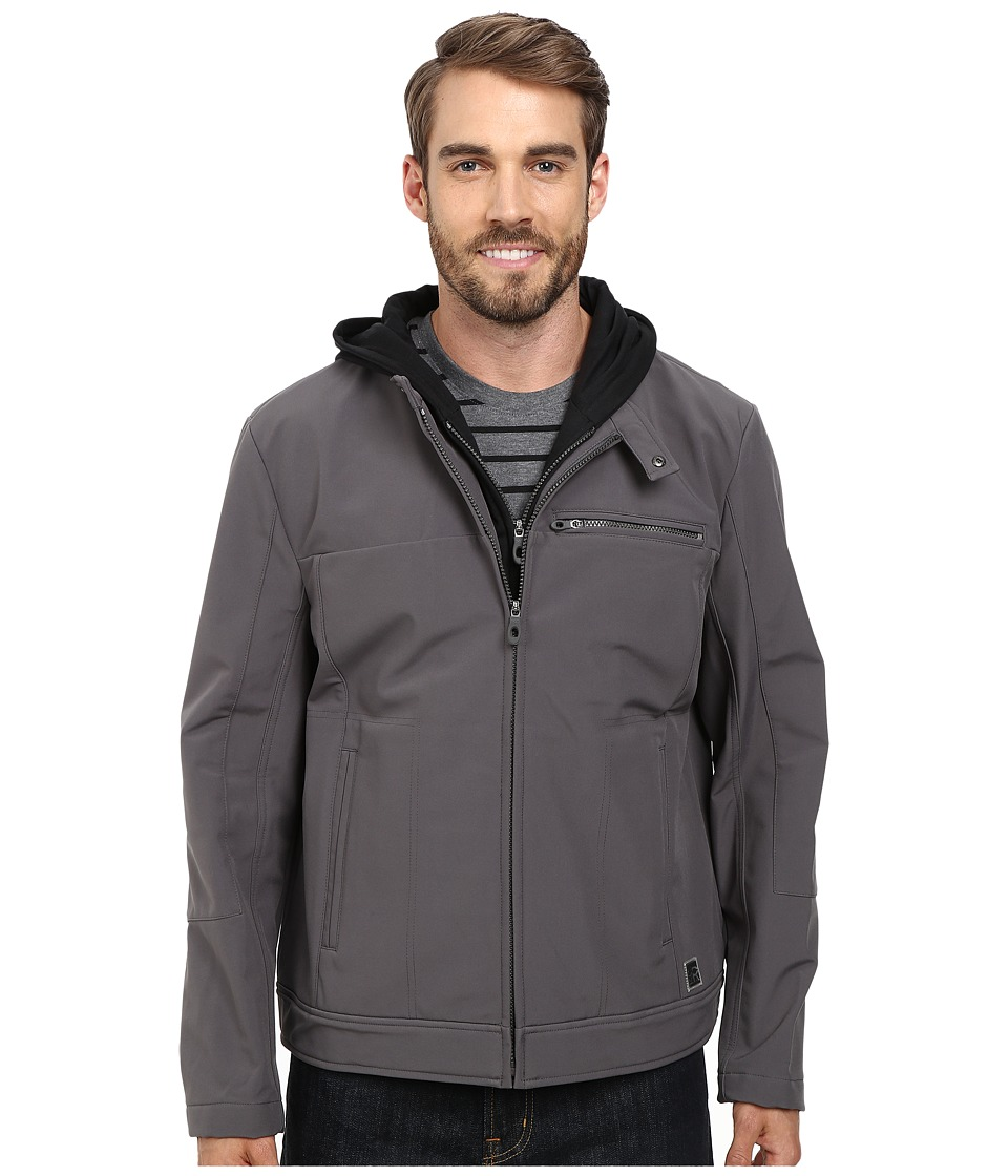 Kenneth Cole Reaction - Softshell Zip Front Jacket with Jersey Hood (Concrete) Men's Coat