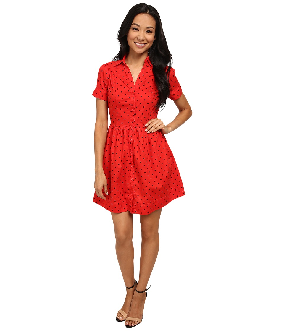 U.S. POLO ASSN. - Printed Poplin Dress (Red Burst) Women's Dress