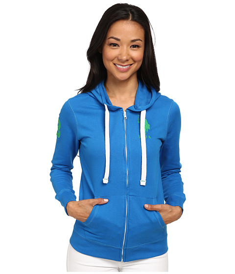U.S. POLO ASSN. - Fleece Hooded Jacket (Royal Speed) Women