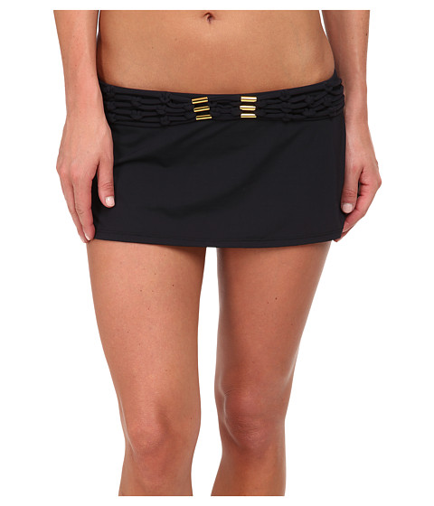 Bleu Rod Beattie - Totally Tubular Solids Skirted Hipster Bottom (Black) Women's Swimwear