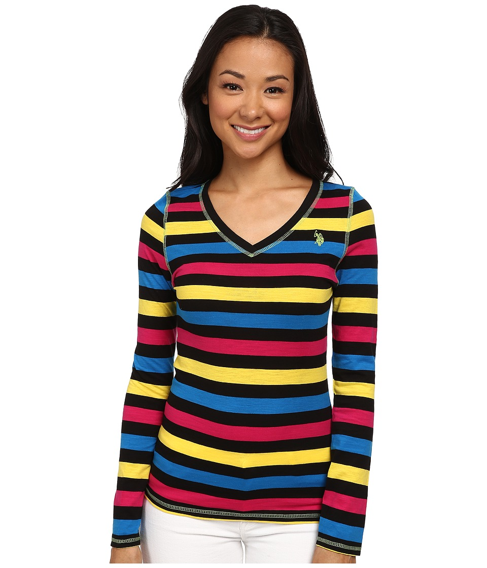 U.S. POLO ASSN. - Long Sleeve Striped Slub V-Neck T-Shirt (Black) Women's T Shirt