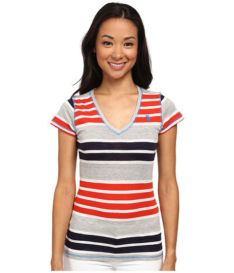 U.S. POLO ASSN. - Striped V-Neck T-Shirt (Red Burst) Women's T Shirt