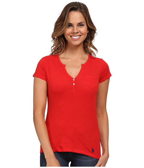 U.S. POLO ASSN. - Split Placket T-Shirt (High Risk Red) Women