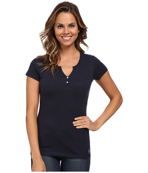 U.S. POLO ASSN. - Split Placket T-Shirt (Navy Blazer) Women's T Shirt