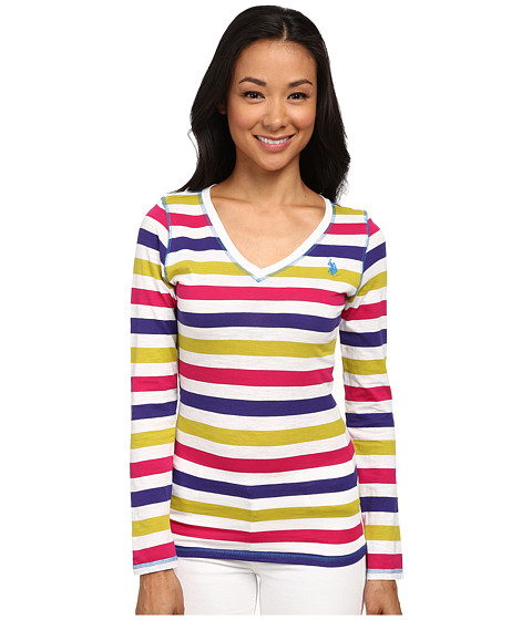 U.S. POLO ASSN. - Long Sleeve Striped Slub V-Neck T-Shirt (Optic White) Women's T Shirt