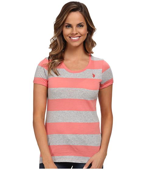 U.S. POLO ASSN. - Wide Stripes T-shirt (Shell Pink) Women's T Shirt