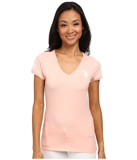 U.S. POLO ASSN. - V-Neck Short Sleeve T-Shirt with Big Pony and #3 (Impatiens Pink) Women
