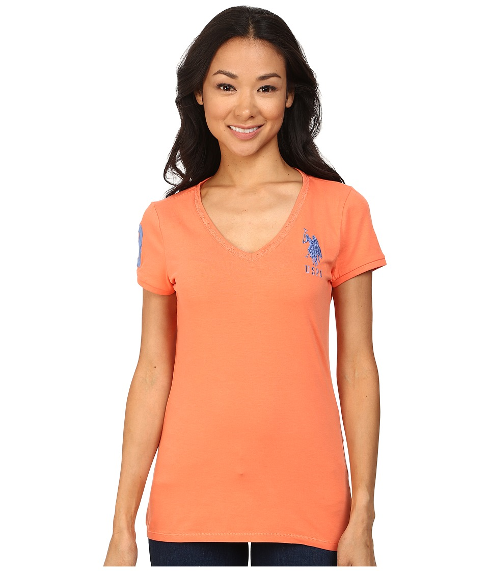U.S. POLO ASSN. - V-Neck Short Sleeve T-Shirt with Big Pony and #3 (Camellia) Women's Short Sleeve Pullover