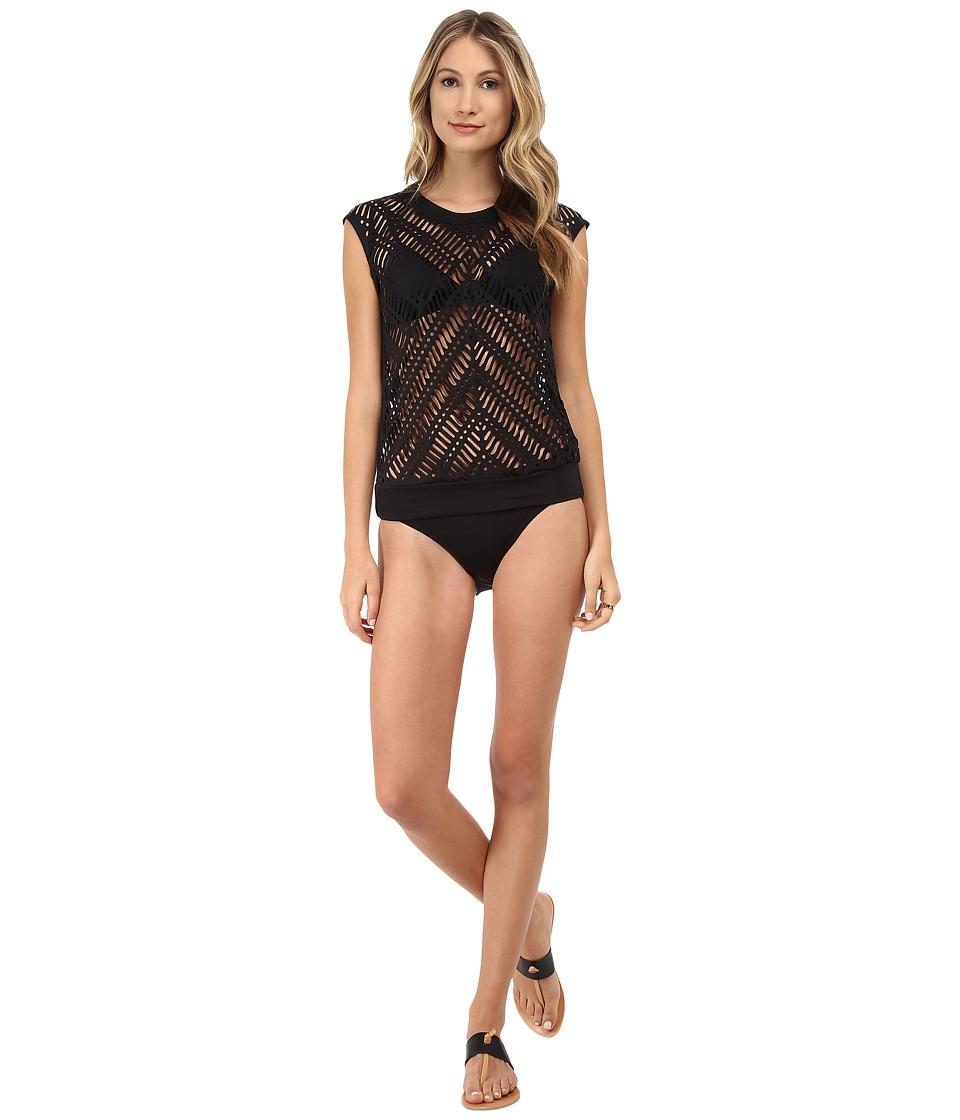 DKNY - Laser Cut Cover-Up (Black) Women's Swimwear