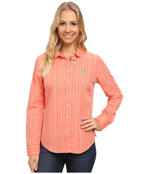 U.S. POLO ASSN. - Vertical Stripe Dobby Shirt (Shell Pink) Women