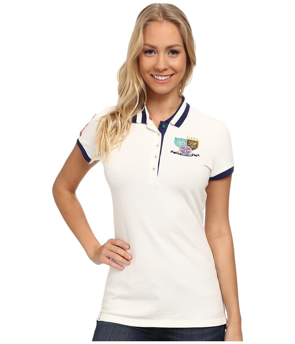 U.S. POLO ASSN. - Patch and Embroidered Embellished Polo (Marshmallow) Women's Clothing