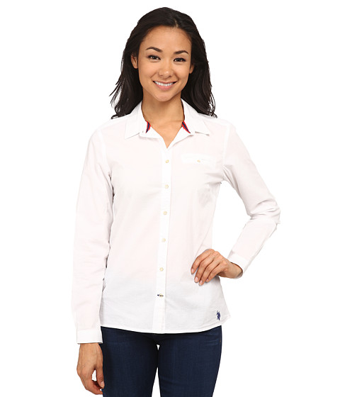 U.S. POLO ASSN. - Solid Poplin Shirt with White Collar (White/Navy) Women's Clothing