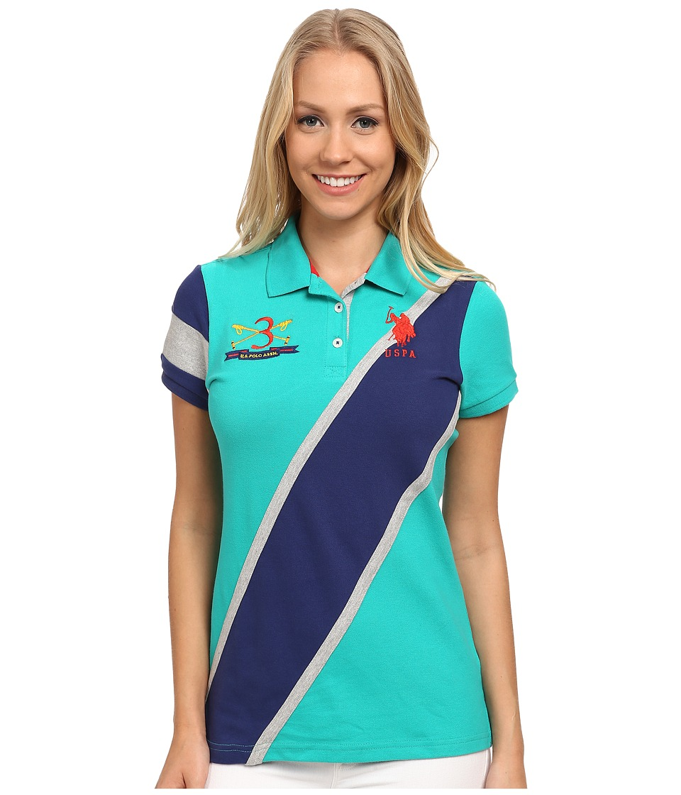 U.S. POLO ASSN. - Diagonal Striped Polo (Dynasty Green) Women's Clothing