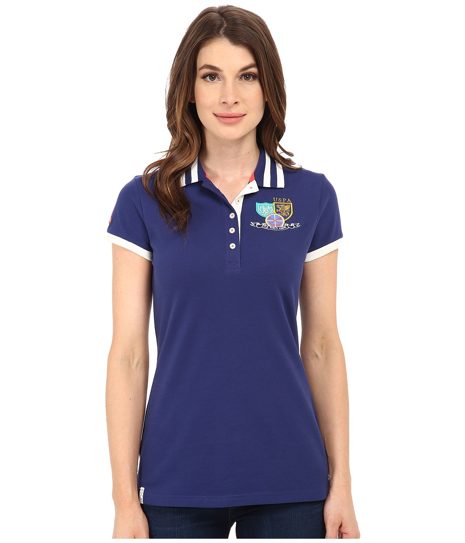 U.S. POLO ASSN. - Patch and Embroidered Embellished Polo (Blueprint) Women's Clothing