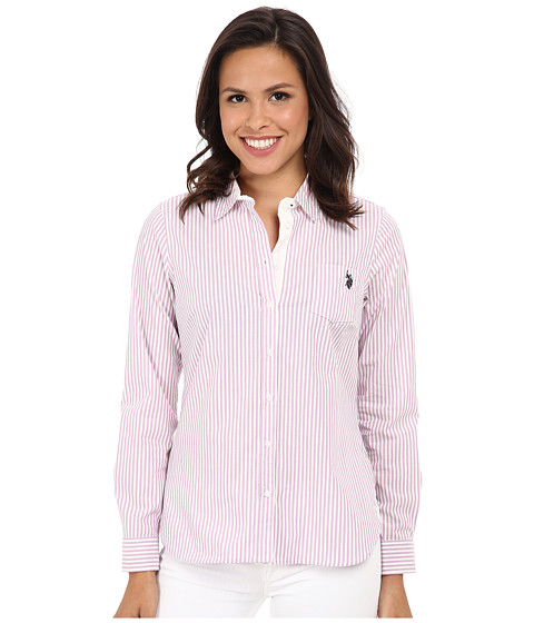 U.S. POLO ASSN. - Long Sleeve Vertical Stripe Shirt (Lavender Herb) Women
